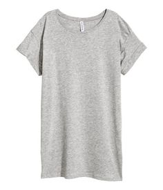 Gray. Long T-shirt in jersey with sewn cuffs on sleeves.