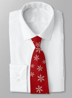 White snowflakes, red Christmas holiday tie.