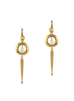 Accented with baroque fresh water pearls, these ESA earrings take inspiration from the Kaal Chakra motif. These earrings are handmade from gold dipped brass and detailed with a comfortable French ear wire hook.