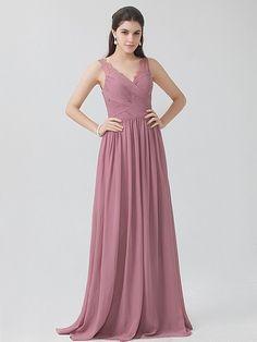 Dusty Rose Chiffon Elegantly Lace Strap V-Neck Vintage Bridesmaid Dress 13aad40c7fe3