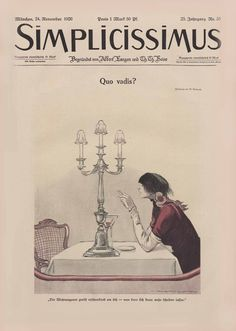 "Simplicissimus. Satirical magazine. ""The housing shortage is frightening. It's hardly possible to divorce anymore."""