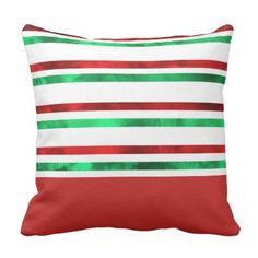 Red and Green Watercolor Stripes Throw Pillow - red gifts color style cyo diy personalize unique