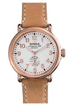 Beautiful, rose gold Shinola watch.