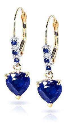 14K Gold Diamond & Sapphire Affection Heart Earrings
