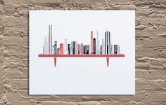 Chicago Skyline [Book Shelf] | Galerie F – Gig Posters, Art Prints, Street Art – 2381 N Milwaukee Ave, Chicago, IL 773 819 9200