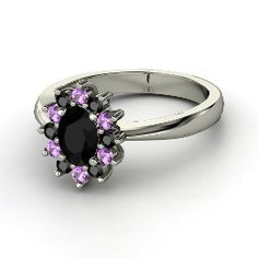 Aunt Star's Ring, Oval Black Onyx White Gold Ring with Amethyst
