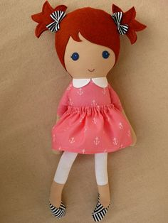 Reserved for Nikole - Fabric Doll Rag Doll Red Haired Girl in Pink Anchor Dress and Striped Bag