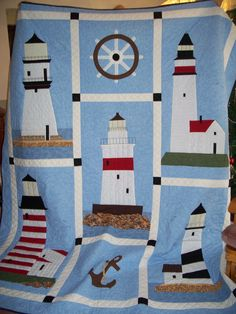 My granddaughter requested a lighthouse quilt, so I designed and appliqued this quilt for her.