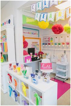 Crush Collection by Schoolgirl Style rainbow confetti classroom decor dog cat pets animals primary colors bright colors classroom organization teacher desk coffee bar color coding Classroom Desk, Classroom Setting, Preschool Classroom, In Kindergarten, Future Classroom, Classroom Ideas For Teachers, Clean Classroom, Teachers Corner, Teacher Desk Decorations