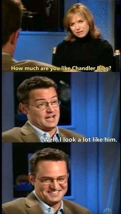 He looks so proud of himself<<<< of coarse he does he's Matthew Perry<<<< who looks like Chandler Bing. Friends Funny Moments, Funny Friend Memes, Friends Episodes, Friends Cast, Funny Memes About Life, Friends Series, Funny Quotes, Chandler Friends, Friends Show Quotes