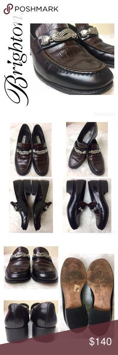 """Brighton Signature Leather Loafers Brighton Signature Leather Loafers, Elegant Black Leather with a Beautiful Brown Croc Embossed Top and Silver Hardware, Made in Italy, Preloved with Plenty of Life Left in Them, Size 7 Tag with a 1 3/8"""" Heel, Used in Good Condition Brighton Shoes Flats & Loafers"""