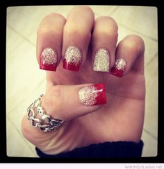 Red tips and white glitter for Christmas