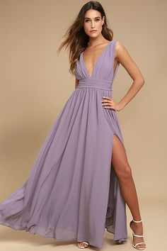 Lulus Exclusive! You'll be goddess-like for the entire evening in the Heavenly Hues Dusty Purple Maxi Dress! Georgette fabric drapes alongside a V-neck and back, and lays across a banded waist. Full maxi skirt has a sexy side slit. Hidden back zipper with clasp.
