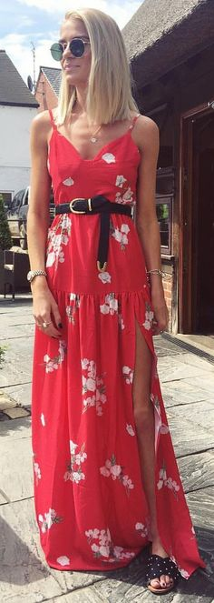 #summer #outfits Red Printed Maxi Dress + Black Pumps