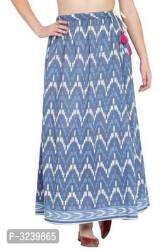 Blue Long Skirt in Ikkat print made of Cotton Formal Shirts, Casual Shirts, Ethnic Gown, Western Wear For Women, Fashion Gallery, Jumpsuit Dress, Green Cotton, Short Skirts, Nightwear