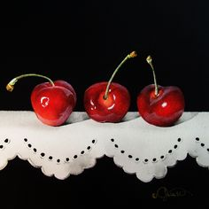 """""""Cherries on Lace""""  6.5"""" x 6.5"""" ~ Watercolor on Panel  Jacqueline Gnott"""
