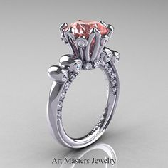 French Renaissance 14K White Gold 3.0 Ct Light Tourmaline Diamond Solitaire Ring Y435-14KWGDTO