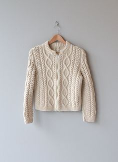 Galway Bay sweater 1970s cable knit sweater cream by DearGolden