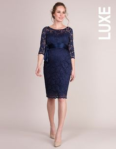 Navy Blue Lace Maternity Cocktail Dress | Seraphine