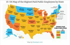 US Map of the Highest Paid Public Employees by State from 2013