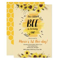Shop Bee Sunflower Birthday Party Invitation created by HappyPartyStudio. Sunflower Birthday Parties, 1st Birthday Party Themes, 1st Birthday Party Invitations, Baby Girl 1st Birthday, Birthday Ideas, 21st Party, Baby Birthday, Birthday Decorations, Birthday Wishes