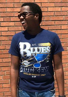 47 St Louis Blues Black Slapshot Short Sleeve Fashion T Shirt - 48005292