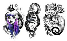 Do not use these as tattoos, the artist does not approve as she is a tattoo artist herself and her work is unique. Art © fukari