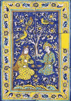 TWO CUERDA SECA POTTERY TILE PANELS, SAFAVID PERSIA, 18TH CENTURY