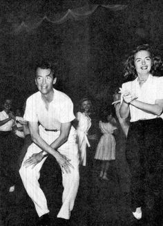 Jimmy Stewart and donna Reed rehearsing the college dance scene on the set of - It's A Wonderful Life.