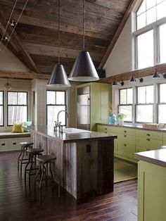 Outstanding Light Green Kitchen Cabinets With Colorful Kitchen Islands : Great Light Green Kitchen Cabinets Near The Glass Window And Gree M...