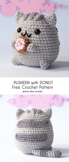 Pusheen, the cat, is an adorable character who has awesome adventures. He's a fan favorite with kids of all ages, and is a feature on many products. These ami pusheens are a cuddly way for your… Amigurumi Giraffe, Crochet Patterns Amigurumi, Crochet Dolls, Crocheting Patterns, Kids Crochet, Knitting Patterns, Chat Crochet, Crochet Mignon, Yarn Projects