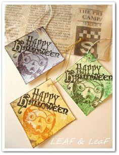 LEAFの「手作りカード」な暮らし。/ 手作りペーパーアイテムのお店「LEAF SHOP」-手作りハロウィーンタグ かぼちゃ 三色