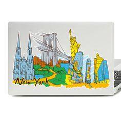 New York Illustration Laptop Skin Sticker New York Illustration, Laptop Stickers, Laptop Skin, Macbook, Vinyl Decals