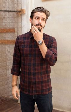 Flannel shirt with denim & watch. Also learn 5 Different Ways to Style Your Flannel Shirt — Mens Fashion Blog - The Unstitchd #MensFashionFlannel