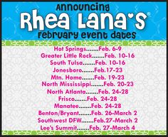 Announcing Rhea Lana Events in February.    www.rhealana.com