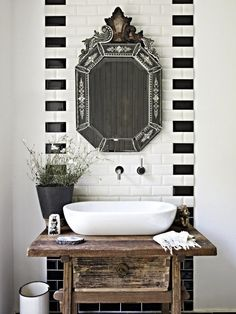 Rustic Powder room, and Venetian Mirror