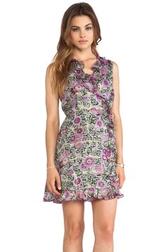 Anna Sui Sunflowers Print V Neck Dress in Lavender Multi