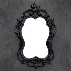 Ornate Black Mirror - Vintage Syroco - Floral Rose Mirror by TheCherryAttic on Etsy