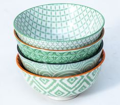 The Bowls Of This Green Bowl Set - Small Come In 4 Different Designs For The Less Traditional. Brighten Up Your Dinner Table. Green Bowl, White Box, Dinner Table, Bowl Set, Dinnerware, Porcelain, Tableware, Gifts, Design