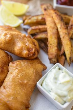 "Hard Cider-Battered Fish n' ""Oven"" Chips, Pub-Style, With Lemon Tartar Sauce Fish Dishes, Seafood Dishes, Fish And Seafood, Fish Recipes, Seafood Recipes, Cooking Recipes, Perch Recipes, Cafe Recipes, I Love Food"