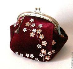 """кошелек-косметичка с фермуаром из бархата """"Элиза2"""" - бордовый,цветочный"""