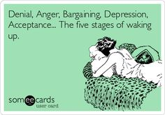 Free and Funny News Ecard: Denial, Anger, Bargaining, Depression, Acceptance. The five stages of waking up. Haha Funny, Funny Stuff, Funny Things, Funny Shit, Funny Pics, Hilarious Memes, Funny Humor, Random Things, Funny Pictures
