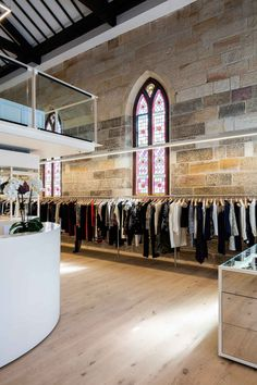 Parlour X has relocated to the historic St Johns Church in Paddington - a remarkable building now transformed into a distinguished retail destination. Boutique Shop, Fashion Boutique, St John's Church, Boutique Interior, Engineered Hardwood Flooring, Tongue And Groove, Wall Finishes, Parlour, Fashion Labels