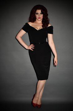 Black Fatale Dress, a 1950's style Bardot off the shoulder Fatale wiggle dress by the Pretty Dress Company at Deadly is the Female. Perfect evening wear for parties.