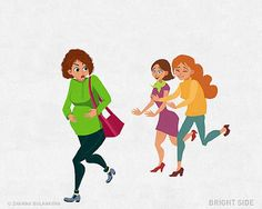 Illustrator Zhanna Bulankova, creatively illustrates the pregnancy related issues. You must have some funny and touching stories to tell about how it feels when you have a little person growing inside you. Birth Photos, Touching Stories, Morning Sickness, Baby Center, Pregnancy, Feelings, Funny, Cute, Kids
