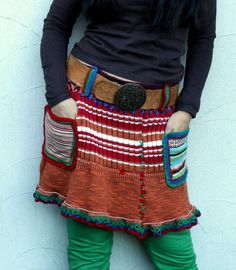 Autumn winter mini skirt hips back warmer recycled boho style
