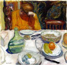 The Provençal Carafe, Marthe Bonnard and Her Dog Ubu / Pierre Bonnard - 1915