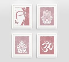Buddha Hamsa Ganesha Om Prints Set of 4 Zen Decor by GizziDesigns Meditation Rooms, Buddha Meditation, Japanese Home Design, Recording Studio Design, Office Prints, Pink Home Decor, Asian Decor, Wall Art Sets, Room Themes