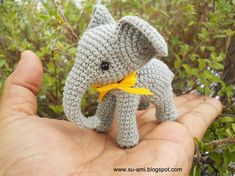 Crochet Elephant Stuff Animal - Miniature Elephant Amigurumi - Made To Order