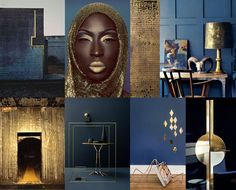 A touch of gold: goud is terug in het interieur - Indigo interior with golden accents - Diy Interior Doors, Cafe Interior, Interior Design Living Room, Interior Styling, Blue Cafe, Interior Design Institute, Gold Color Scheme, Palette, Gold Bedroom